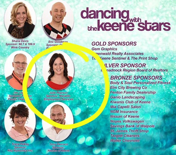 Masiello Employment S Own Julie Pearson Caught Dancing With The Keene Stars Masiello Employment Services